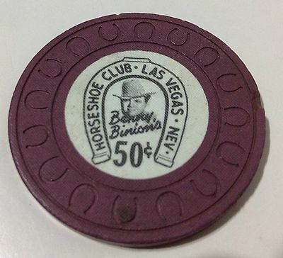 VINTAGE 10TH ISSUE, BINION'S HORSESHOE .50 CENT GAMBLING CHIP