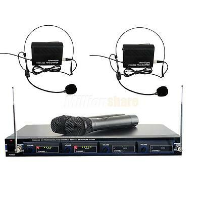 New PYLE Pro PDWM4300 Rack Mount VHF 4 Handheld Wireless Microphone System
