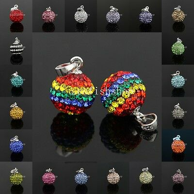 Genuine Sterling Silver Crystal Pave Disco Ball Czech Pendant Fit Necklace DIY
