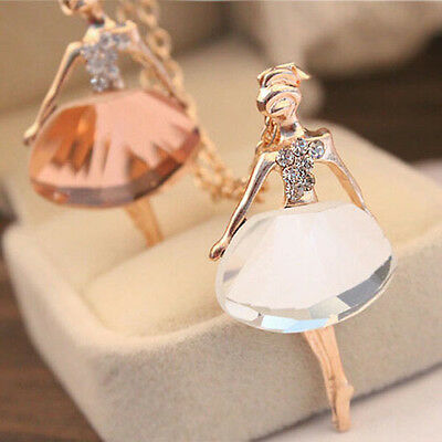 Women Alloy Ballet Gold Plated Long Chain Fashion New Pendant Crystal Necklace
