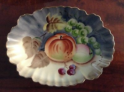 VINTAGE LEFTON US PATENT OFF #NE20127B HAND PAINTED OVAL SCALLOP GOLD EDGE BOWL