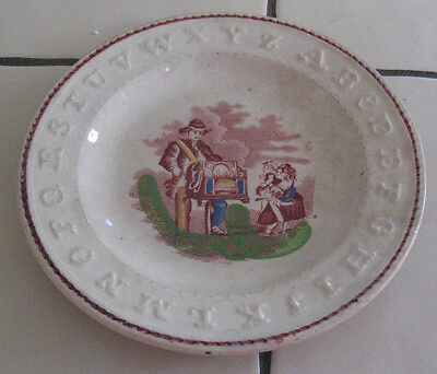 Antique Staffordshire Pottery ABC Alphabet Plate Hurdy Gurdy Children Listening