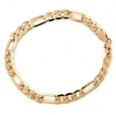 Elegant 18K Solid Yellow Gold Filled GF Bracelet Chain For Man As Gifts B119