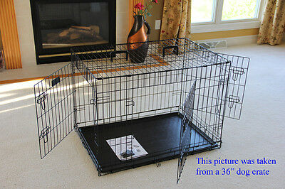 """EliteField 42"""" 3-Door Folding Dog Crate Cage with DIVIDER and RUBBER FEET"""