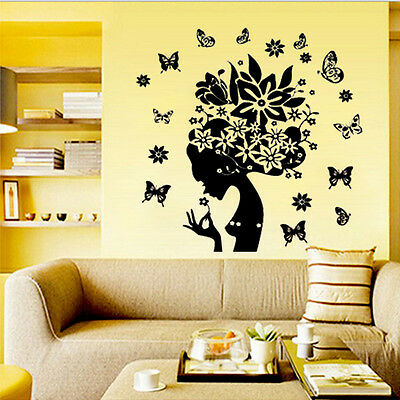 Butterfly Flower Fairy Girl Removable Vinyl Wall Sticker Room Decor Decals