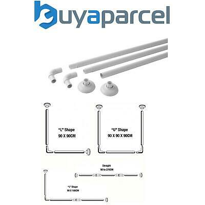 MX Modular Shower Curtain Rail White upto 4 Configurations L U and Straight