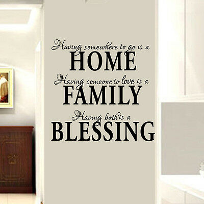 Home Family Blessing Wall Quote Sticker Decal Removable Art Mural Home Decor