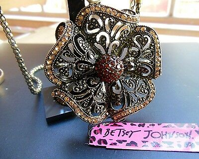 Betsey Johnson high quality vintage bronze flower rhinestone necklace # N64