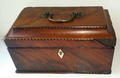 Wonderful 1780 Flame Mahogany Tea Caddy with Barber Pole Banding NO RESERVE