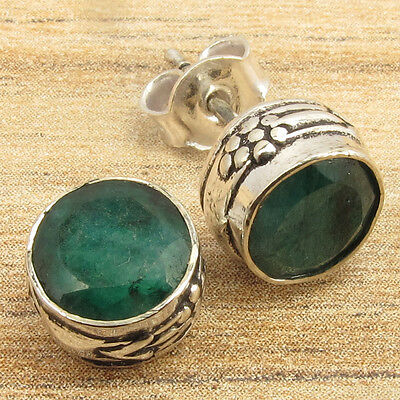 ROYAL EMERALD Gems Ethnic, Antique Art Little Stud Earrings 925 Silver Plated