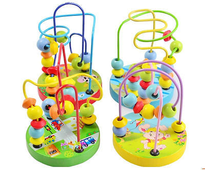 Baby wooden toy Mini around the beads Wire maze Colorful Educational game