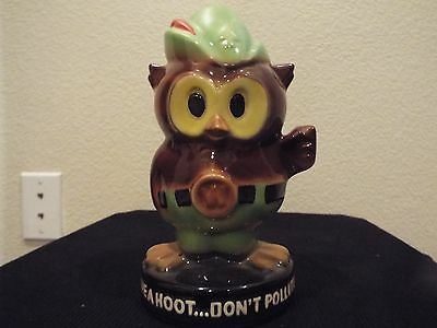 Vintage Ceramic WOODSY OWL BANK Give a Hoot Don't Pollute Advertising Figure