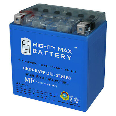 12V 4Amp Charge Mighty Max YTX16-BS 12V 14AH Battery for Suzuki LTA500F Vinson