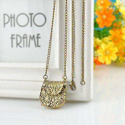 Vintage Carved Bag Bronze Locket Pendant Long Chain Personality Womens Necklace