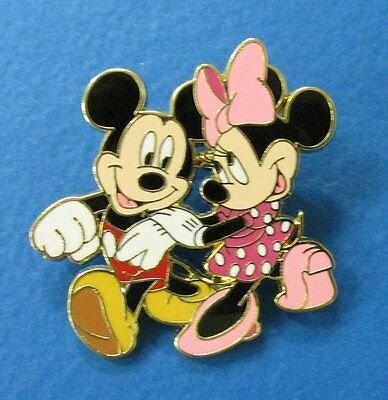 Disney Mickey Mouse and Minnie Mouse Strolling and Holding Hands Pin