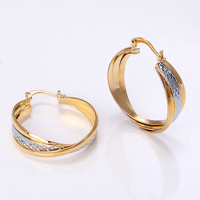 Fashion 14K Solid Yellow Gold Filled Women's Wedding Jewelry Earrings Gift E501