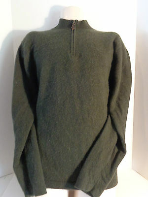 Daniel Bishop Mens 2 Ply 100% Cashmere Zipper Neck Sweater XL Green Zippered