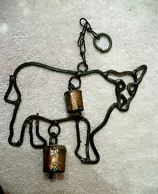 """VTG Hanging Figure COW with Bell Iron Metal Hand forged wind chime  6 1/2"""" long"""
