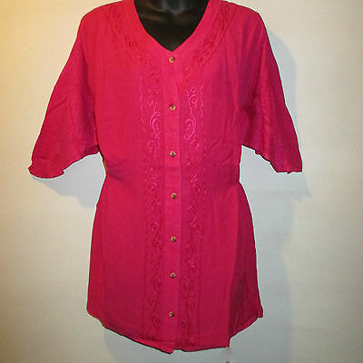 Top 5X Plus Catherines Pink Long Tunic Drawstring Waist Button Down Blouse AB80