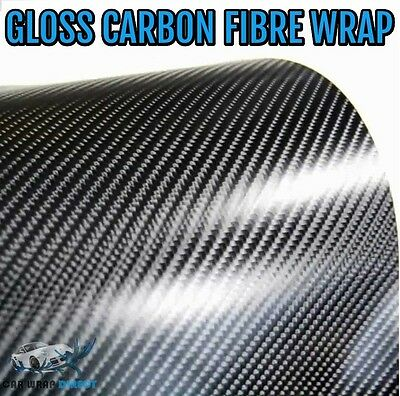 4D Gloss Carbon Fibre Vinyl 152 x 30cm Roll - Black - Bubble Free Car Wrap Film