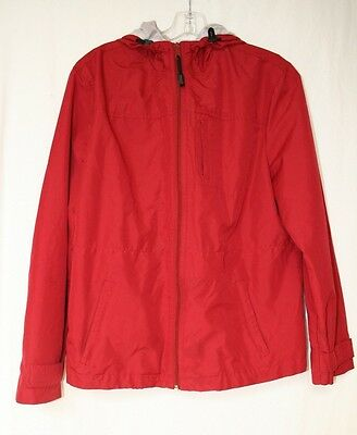 GAP Womens Size Large Hooded Zip Up Red Coat Jacket