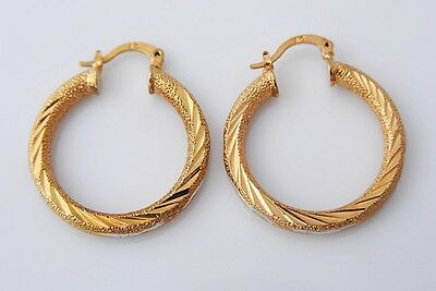 Gorgeous 14K Solid Yellow Gold Filled Hoop Style Womens Jewelry Earrings E316