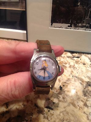 Vintage ALICE In WONDERLAND Watch-1950s, Original Suede Leather Band-One Owner