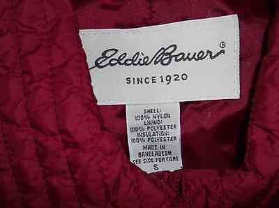 Eddie Bauer Quilted Nylon Jacket Women's Size Small, Cranberry, Beautiful!!