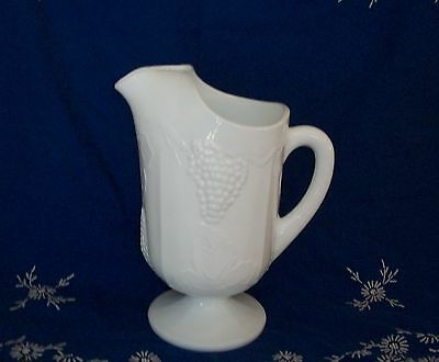 LARGE INDIANA WHITE MILK GLASS HARVEST COLONY GRAPE PITCHER
