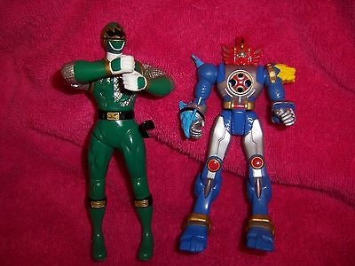 POWER RANGERS TWO ACTION FIGURES BANDAI GREEN BLUE do not know who they are CUTE