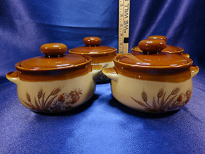 Set of 4 Japan Onion Soup Chili Small Crocks With Wheat Design Lot