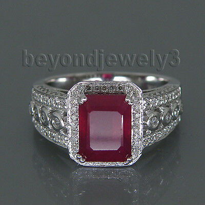 PERFECT 3.71CT Solid 14K White Gold Genuine Natural Diamond Blood Ruby Ring SR58