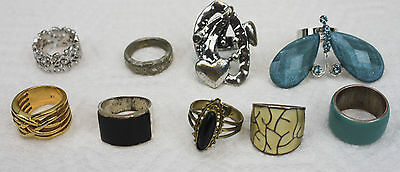 Vintage Lot of 9 Super Fun Fashion Rings Mostly size 6 or Adjustable Buterfly