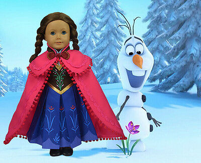 "Fits 18"" American Girl Doll Clothes,""FROZEN"" Princess Anna Outfit,Xmas Gift,H09"