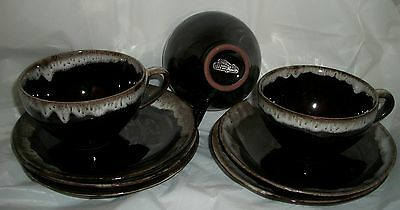 NASCO OLD HICKORY CUP & SAUCERS 8 PIECES BROWN DRIP
