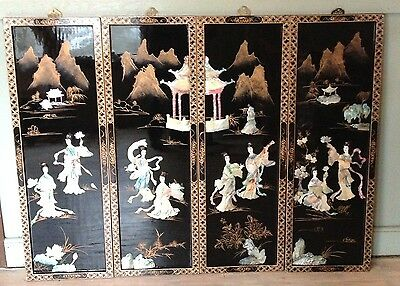 Vintage Black Lacquer Wood Mother of Pearl Oriental Wall Art picture 4 Panels