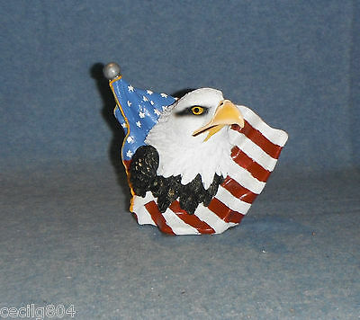 EAGLE BUST AGAINST THE AMERICAN FLAG  FIGURINE