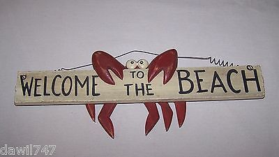 WELCOME TO THE BEACH  CRAB HANGING SIGN.  WOOD SIGN