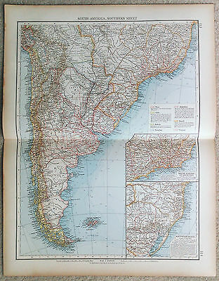 Large Original 1898 Map of The Southern Portion of South America by Velhagen....