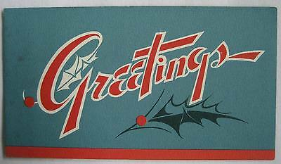 Vintage Christmas Greeting Card Holly Sprigs