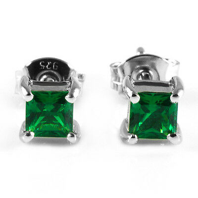 1ct NEW Square Nano Russian Emerald Earrings Stud 925 Sterling Silver