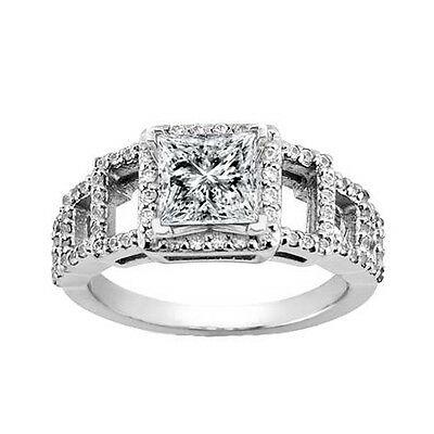 White Gold 2.07 ct. TW Princess Diamond Accented Engagement Ring in Platinum