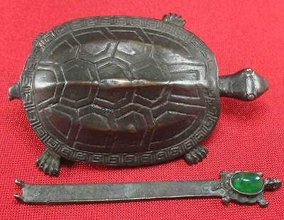 Collectible Old Tibet brass ,Turtle shape, lock and key, inlay green jade bead