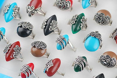 Fashion Wholesale Mixed Jewelry Lots 5ps Assorted Colors Top Resin Rings New