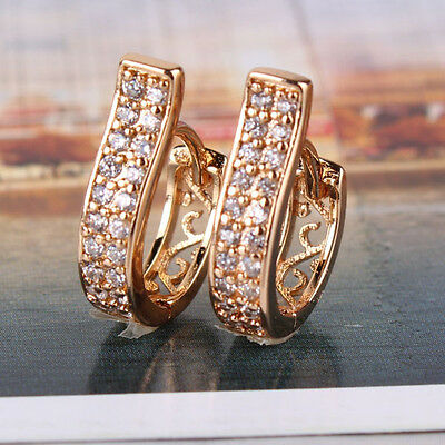 High quality 18K Rose Gold Plated Hoop Earring White Topaz Earing Unique Crystal