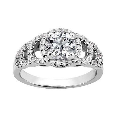White Gold 2.06 ct. TW Round Diamond Accented Engagement Ring in Platinum