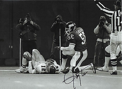 LAWRENCE TAYLOR SIGNED NEW YORK GIANTS SACKING RANDALL CUNNINGHAM EAGLES