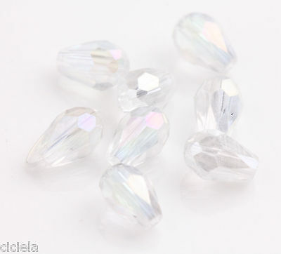 100PCS White Faceted Glass Crystal Teardrop Loose Beads 6*4mm