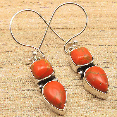 ORANGE COPPER TURQUOISE GEMS CUTE EARRINGS ! 925 SILVER PLATED OVER SOLID COPPER