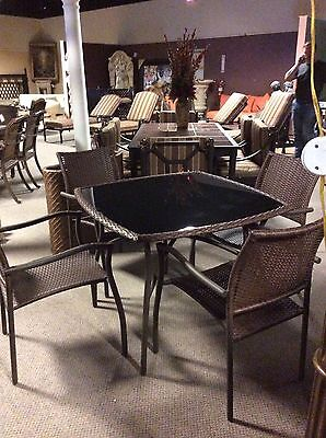 5pc Patio Set WICKER DINING Table & Chairs Outdoor Furniture For Porch - Balcony